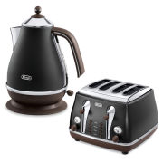 De'Longhi Icona Vintage 4 Slice Toaster and Kettle Bundle - Black