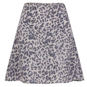 Custommade Women's Roska Leopard Print Skater Skirt - Paloma Grey