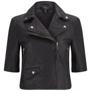 Muubaa Women's Leather Cropped Biker Jacket - Black