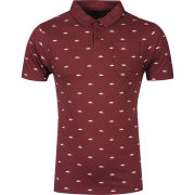 Atticus Men's Flock Polo Shirt - Oxblood Red