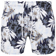 French Connection Men's Gabriel Moss Floral Swim Shorts - Eclipse Multi Blue