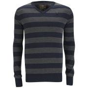 Ringspun Men's Amjam Stripe Knit - Navy/Charcoal
