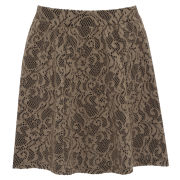 Damned Delux Women's In Bonded Lace Skater Skirt - Cream/Black