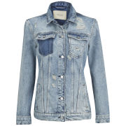 Maison Scotch Women's Distressed Boyfriend Trucker Denim Jacket - Denim