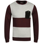 Osaka Men's Stripe Crew Neck Sweat - Burgundy / Oatmeal