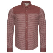 Brave Soul Men's Vanquish Striped Shirt With Plain Contrast Panel - Burgundy