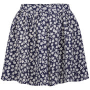 Neon Rose Women's Floral Print Skirt - Blue