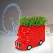 Ceramic Red Double Decker Bus Planter