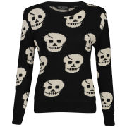 Influence Women's Skull Knitted Jumper - Black