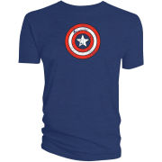 Captain America's Shield Distressed T-Shirt - Blue