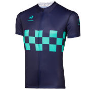 Le Coq Sportif Performance Checkered Short Sleeve Jersey - Blue