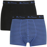 Ben Sherman Men's 2 Pack Stripe Trunks - Black/Blue
