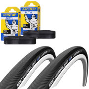 Schwalbe Lugano Clincher Road Tyre Twin Pack with 2 Free Tubes - Black 700c x 23mm