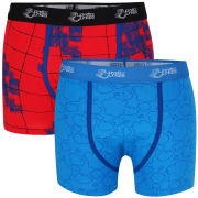 Joystick Junkies Men's Two Pack Boxers - Red Pattern / Blue