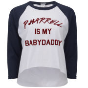 Dimepiece Women's Pharrell Cropped Baseball T-Shirt - White/Navy/Maroon