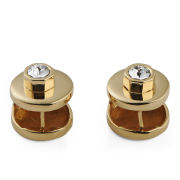 Maria Francesca Pepe Encrusted Swarovski Round Earrings - Gold/Crystal
