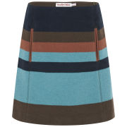See by Chloe Women's Block Stripe Wool Skirt - Brown/Blue