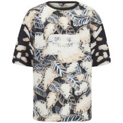 Opening Ceremony Womens Painted Leaves Oversized Top - Blush Pink