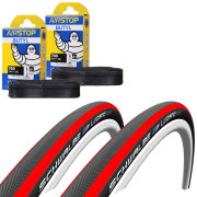Schwalbe Lugano Clincher Road Tyre Twin Pack with 2 Free Tubes - Red 700c x 23mm