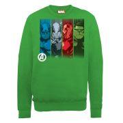 Marvel Avengers Assemble Team Strips Men's Sweatshirt - Irish Green