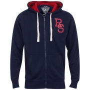 Ringspun Men's Devil's Acre Zip Through Hoody - Navy/Red