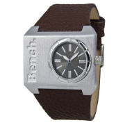 Bench Mens Square Silver Dial Brown Strap Watch USED