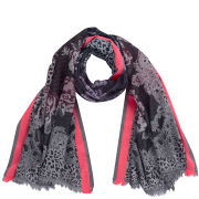 Codello Women's Winter Wonderland Flower Jacquard Scarf - Black