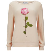 Wildfox Women's Rose Print Baggy Beach Jumper - Pink Champagne