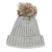Impulse Women's Pom Pom Beanie - Grey/Brown