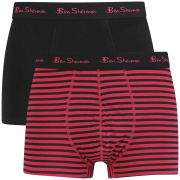 Ben Sherman Men's 2 Pack Stripe Trunks - Black/Cerise