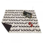 Anorak Kissing Stags Picnic Blanket - Black/Cream
