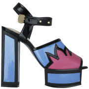 Kat Maconie Women's Liza Patent Leather Flame Heels - Blue/Magenta/Black