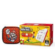 Nintendo 2DS White & Red Console: Bundle includes New Super Mario Bros. 2 + Red Mario 2DS Case