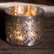 Nkuku Medium Etched Glass T-Light Holder - Rustic Silver