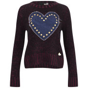 Love Moschino Women's Studded Heart Knit Jumper - Red