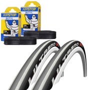 Schwalbe Ultremo ZX Clincher Road Tyre Twin Pack with 2 Free Tubes - Silver Stripes 700c x 23mm