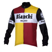Bianchi Men's Bagheira Long Sleeve Full Zip Jersey - Black/Yellow/Red