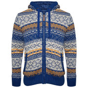 Brave Soul Men's Havisham Hooded Zip Thru Knit - Cobalt Blue / Barley / Burnt Yellow