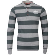 Tokyo Laundry Men's Peyto Peak Striped Long Sleeve Top - Green Gables/Mid Grey Marl