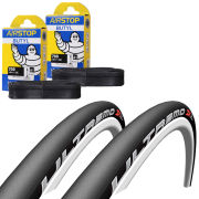Schwalbe Ultremo ZX Clincher Road Tyre Twin Pack with 2 Free Tubes - Black 700c x 23mm