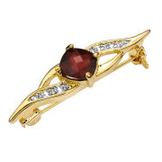 Two Toned Cushion Cut Design Garnet Pin