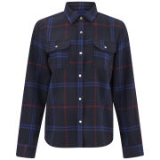 A.P.C. Women's Wool Tartan Shirt - Dark Navy