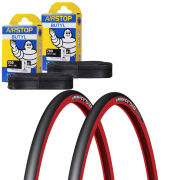 Michelin Pro 4 Race Service Course Clincher Road Tyre Twin Pack with 2 Free Inner Tubes - Red 700c x 23mm