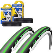 Schwalbe Ultremo ZX Clincher Road Tyre Twin Pack with 2 Free Tubes - Black/Green 700c x 23mm