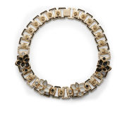Maria Francesca Pepe Studs, Swarovski, Enamel and Flowers Necklace - Gold/Black/Crystal/White
