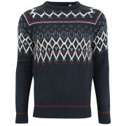 Brave Soul Men's Riley Fairisle Jumper - Navy