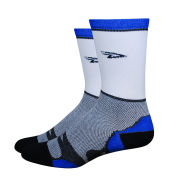DeFeet Levitator Lite Tall 5 Inch Socks - White with Blue Stripes
