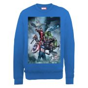 Marvel Avengers Assemble Team Montage Men's Sweatshirt - Royal Blue