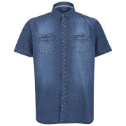Brave Soul Men's Victor Short Sleeve Polka Dot Shirt - Blue