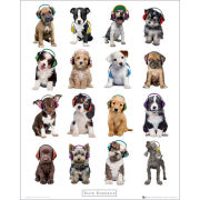 Keith Kimberlin Puppies Headphones - Mini Poster - 40 x 50cm